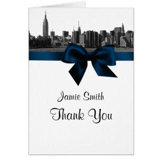 NYC dankt breite Skyline geätztes BW Marine-Blau Karte