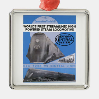 NYC Flottenadmiral Vanderbilt Lokomotive Silbernes Ornament