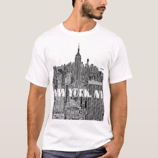 NYC geätzte Blick-Skyline von oben T-Shirt