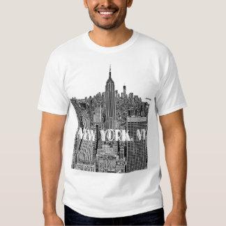 NYC geätzte Blick-Skyline von oben T-Shirts