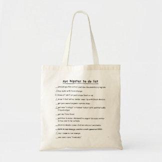 NYC Hipster, zum der Listen-Taschen-Tasche zu tun