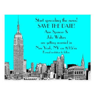 NYC Skyline 01 ätzte DIY BG Farbe Save the Date Postkarte