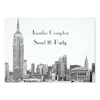 NYC Skyline 01 ätzte weißes Party des Bonbon-16 12,7 X 17,8 Cm Einladungskarte