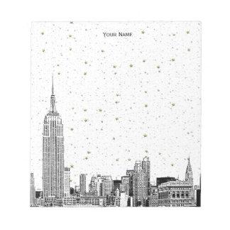NYC Skyline 01 Etchd DIY BG färben sternenklar Notizblock