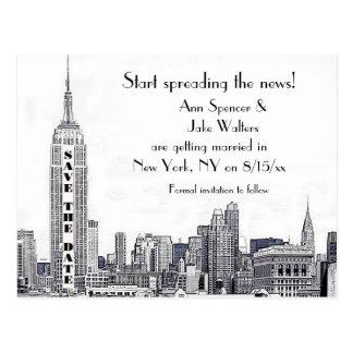 NYC Skyline ätzte 01 Save the Date Postkarten