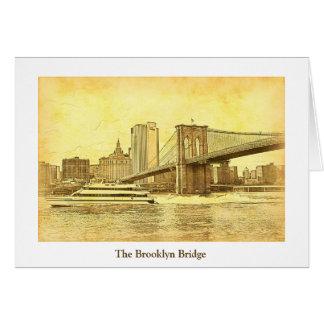 NYC Skyline-Brooklyn-Brücken-Boot geätzter Blick Karte