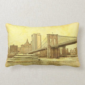 NYC Skyline-Brooklyn-Brücken-Boot geätzter Blick Lendenkissen
