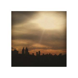 """NYC Skyline, """"ließ den Sun"""" in der hölzernen Kunst"""