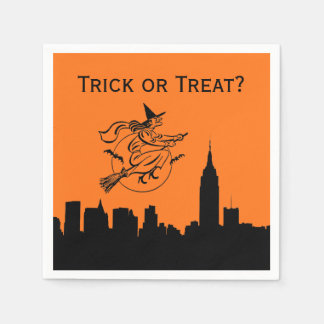 NYC Skyline-Silhouette-Halloween-Fliegen-Hexe Servietten