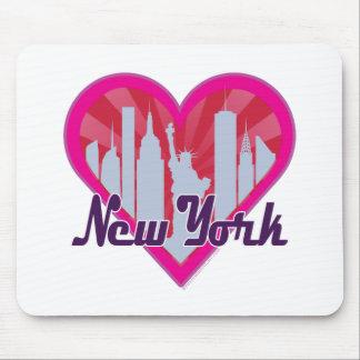 NYC Skyline-Sonnendurchbruch-Herz Mousepad