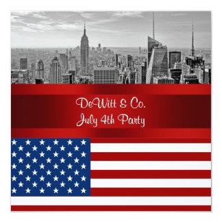 NYC Skyline USA-Flaggen-rotes weißes blaues Party Quadratische 13,3 Cm Einladungskarte