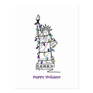 NYC Weihnachtschanukka-Freiheitsstatue Feiertag Postkarte