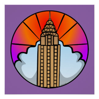 NYC Wolkenkratzer-Buntglas-Plakat Poster