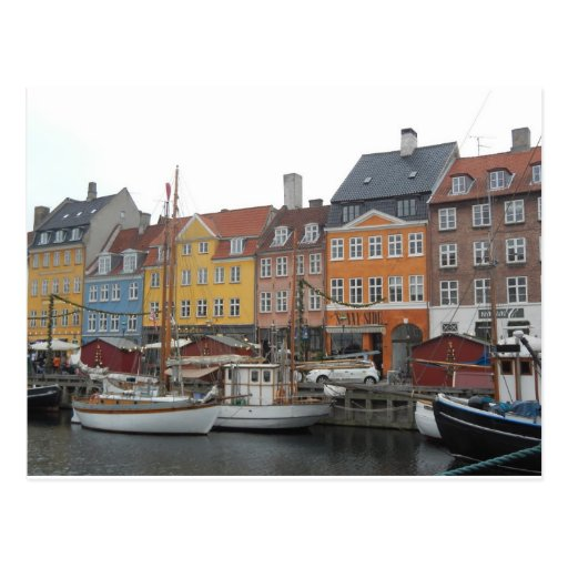 Nyhaven Boote und Kanal Kopenhagen Dänemark Postkarte