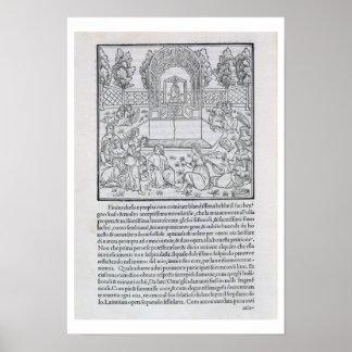 Nymphen mit dem Liebhaber von Polia, Illustration  Poster