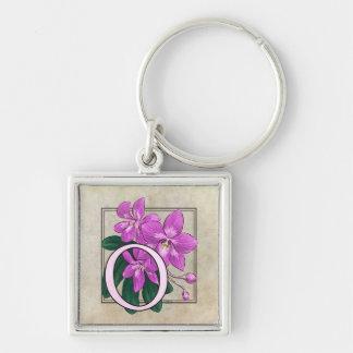 O für Orchideen-Blumen-Monogramm Schlüsselanhänger