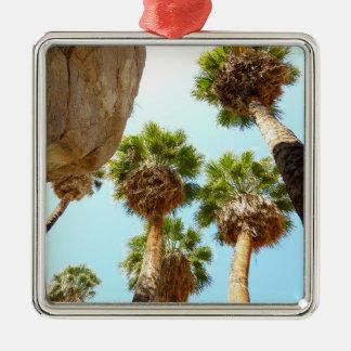 Oasen-Palmen am Joshua-Baum-Nationalpark Quadratisches Silberfarbenes Ornament