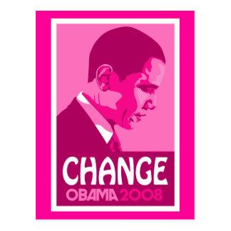 Obama - ändern Sie dunkle rosa Postkarte