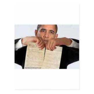 Obama, der oben die Konstitution zerreißt Postkarte