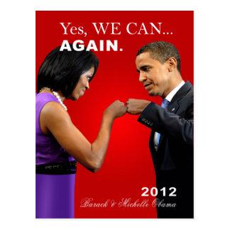 Obama-Faust-Stoß - ja können wir, wieder Postkarte