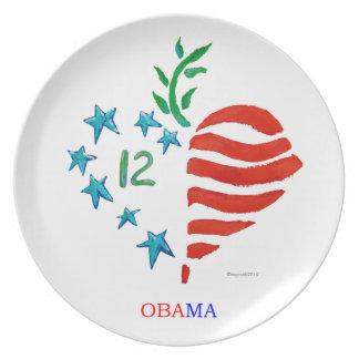 Obama-Herzplakatplatte Flacher Teller