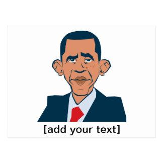 Obama - lustiges Porträt Postkarte