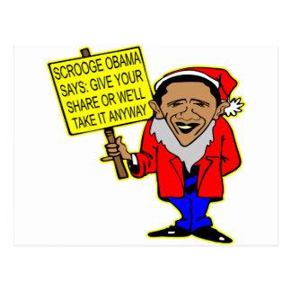 Obama Scrooge nehmen wir es von Ihnen irgendwie Postkarte