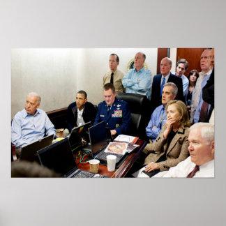 Obama-Situations-Raum-Fotobehälter beladen getötet Poster