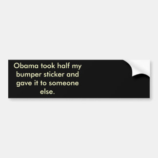 Obama-Stola Hälfte mein bumber Aufkleber Autoaufkleber