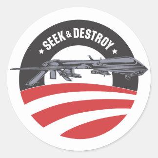 Obama-Suchvorgang und zerstören Auftragaufkleber Runder Aufkleber