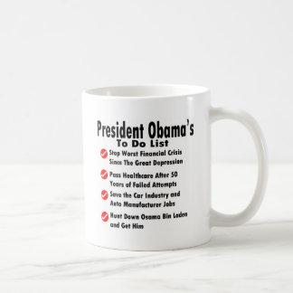 Obama, zum der Liste zu tun Kaffeetasse