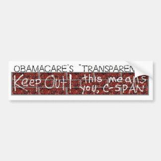 """Obamacares """"Transparenz """" Autoaufkleber"""