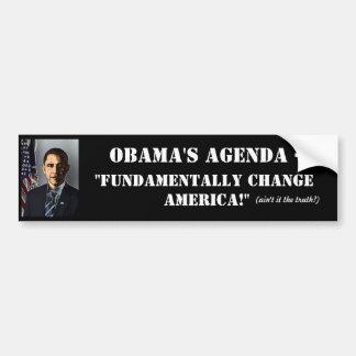OBAMAS Tagesordnung-Anti-Obama Autoaufkleber