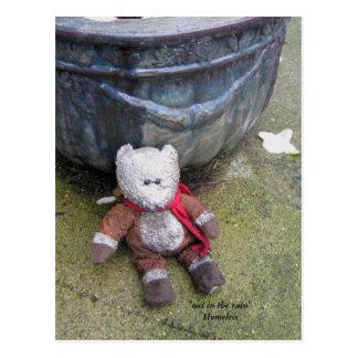 Obdachlose Teddybär-Postkarte Postkarte