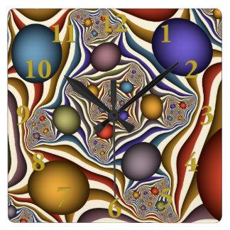 Oben fliegen, bunte, moderne, abstrakte quadratische wanduhr