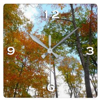 Oben schauen zum bunten Fall-Laub des Herbstlaub-I Quadratische Wanduhr