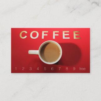 Obenliegendes Kaffee-Zeichen beschriftet Treuekarte