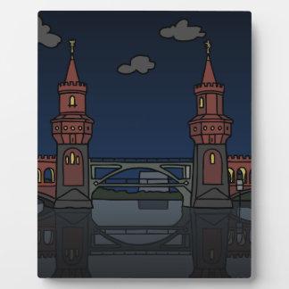 Oberbaum Brücke Berlin nachts Fotoplatte