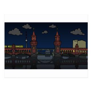 Oberbaum Brücke Berlin nachts Postkarte