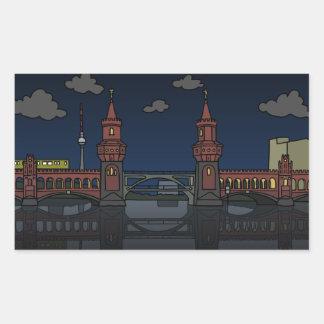 Oberbaum Brücke Berlin nachts Rechteckiger Aufkleber