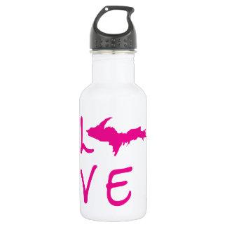 Obere Halbinsel LIEBE (rosa Logo) Wasser-Flasche Edelstahlflasche