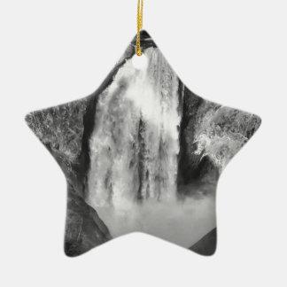 Oberer Yellowstone fällt in Schwarzweiss Keramik Ornament