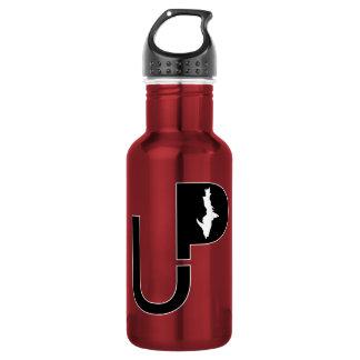 Oberes Halbinsellogo (Schwarzes) auf rotes Trinkflasche