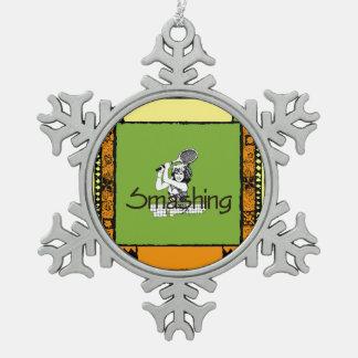 OBERSTES überwältigendes Tennis Schneeflocken Zinn-Ornament