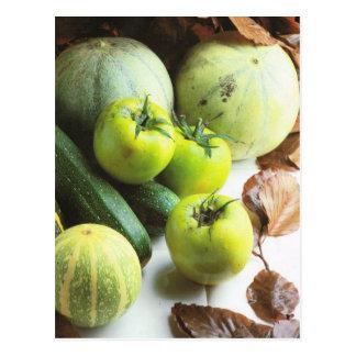 Obst und Gemüse, grüne Tomaten und Melonen Postkarte