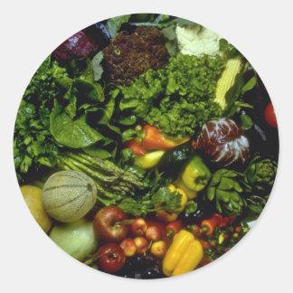 Obst und Gemüse Runder Aufkleber