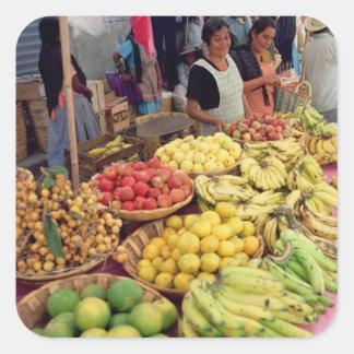 Obst- und Gemüse Stall Quadratischer Aufkleber