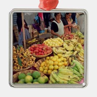 Obst- und Gemüse Stall Quadratisches Silberfarbenes Ornament