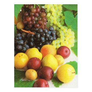 Obst und Gemüse, Trauben und Pflaumen Postkarte