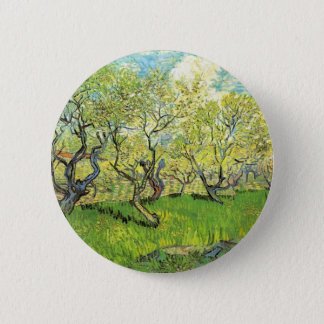 Obstgarten in der Blüte, Vincent van Gogh Runder Button 5,1 Cm